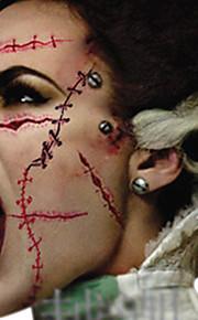 New 2016 Waterproof Temporary Tattoo Sticker Halloween Terror Wound Realistic Blood Injury Scar Fake Tattoo Sticker 5PCS