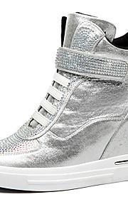 Черный / Серебристый-Женский-Для офиса / На каждый день-Лак-На платформе-Удобная обувь-Кеды