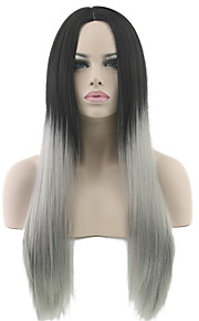Ms Long Straight Hair Black Ash High Temperature Gradient Gray Silk Wig