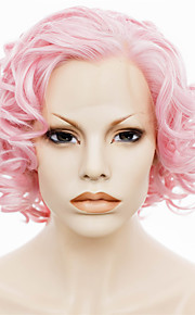 IMSTYLE 10Short Pink Curly Synthetic Hair Wig Lace Front