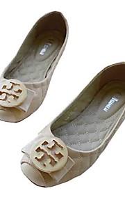 Черный / Миндальный-Женский-Для прогулок / Для офиса / На каждый день-Кожа-На плоской подошве-Удобная обувь / С квадратным носком / На
