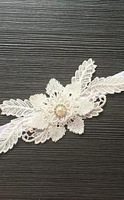 Garter Stretch Satin / Lace Flower / Rhinestone Ivory