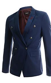 Blazer Pour des hommes Couleur plaine Décontracté / Travail Coton / Polyester Manches longues Noir / Bleu