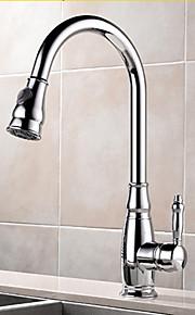 Moderne Standard Tud Basin bred spary / Træk-udsprøjte / Roterbare with  Keramik Ventil Enkelt håndtag Et Hul for  Krom , Køkken Vandhane