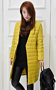 Women's Long Down Coat,Simple Casual/Daily Solid-Polyester White Duck Down Long Sleeve V Neck Black / Yellow