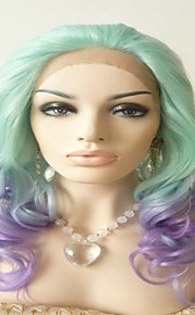 Sylvia Synthetic Lace front Wig Mint Green Mixed With Purple Ombre Hair Heat Resistant Long Natural Wave Synthetic Wigs