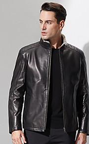 Manteau en Fourrure Hommes,Couleur Pleine Décontracté / Quotidien simple Manches Longues Mao Noir Polyester Epais Hiver
