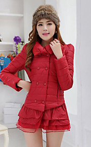 Women's Regular Padded Coat,Simple / Street chic Going out / Casual/Daily Solid-Others Cotton Long Sleeve Shirt CollarRed / White / Beige