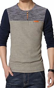 Heren Eenvoudig Herfst T-shirt,Grote maten / Casual/Dagelijks Patchwork Ronde hals Lange mouw Blauw / Rood Katoen / Polyester Dun