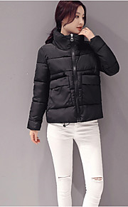 Women's Short Padded Coat,Sexy / Vintage / Simple Going out / Casual/Daily Solid-Polyester Polypropylene Long Sleeve StandPink / Red /