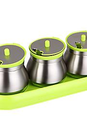 приправа банку аромат контейнер 3pc с Недобросовестные лоток еды из нержавеющей стали закаленного стекла кухонные принадлежности