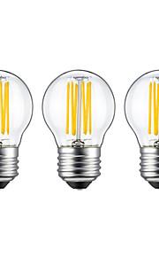 6W E26/E27 Ampoules à Filament LED G45 6 COB 560 lm Blanc Chaud V 3 pièces