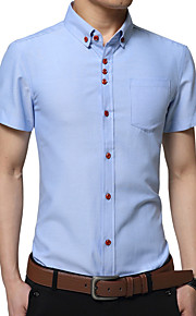 אחיד צווארון חולצה פשוטה יום יומי\קז'ואל / מידות גדולות חולצה גברים,קיץ שרוולים קצרים כחול / אדום / לבן דק כותנה / פוליאסטר