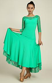 Ballroom Dance Dresses Performance Lace / Lycra Draped / Lace 1 Piece 3/4 Length Sleeve Natural Dress
