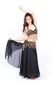 Belly Dance Outfits Performance Cotton / Polyester Beading / Crystals/Rhinestones / Paillettes / Sequins / Tassel(s) 2 Pieces Top / Belt coffee