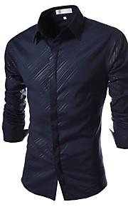 אחיד / פסים צווארון חולצה פשוטה / סגנון רחוב יום יומי\קז'ואל / פורמאלי / עבודה חולצה גברים,כל העונות שרוול ארוך כחול / לבן / שחור דקכותנה