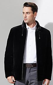 Manteau en Fourrure Hommes,Couleur Pleine Décontracté / Quotidien simple Manches Longues Noir Laine Epais Hiver