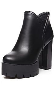 Women's Zipper Round Closed Toe High Heels Pu Ankle High Boots