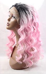 høy kvalitet varme syntetisk hår lang krøllete rosa parykk beste naturlige rosa syntetiske blonder foran krøllete parykk for kvinner