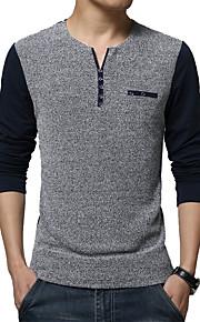 Heren Eenvoudig Herfst T-shirt,Casual/Dagelijks / Grote maten Patchwork Ronde hals Lange mouw Blauw / Wit Katoen / Polyester Dun