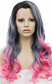 Synthetic Lace Front Wig IMSTYLE 24''New Arrival Drag Queen Heat Resistant Grey Pink Ombre Long Wave  Black Root