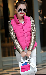 Women's Short Padded Coat,Simple / Street chic Going out / Casual/Daily Solid-Polyester Cotton Long Sleeve StandRed / White / Black /