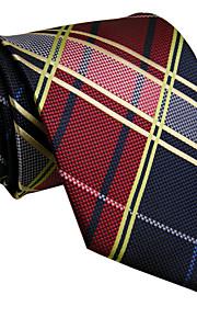 Men's Necktie Tie Wine Checked 100% Silk Jacquard Woven Business Dress Casual Wedding For Men