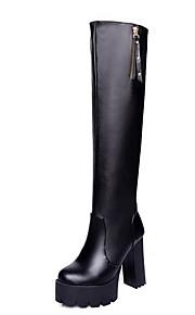 Women's Pu High Top Solid Zipper High Heels Boots