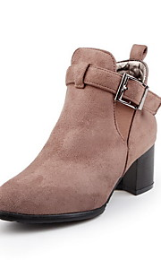 Women's Solid Imitated Suede Kitten Heels Buckle Round Closed Toe Boots