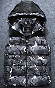 Heren camouflage Gewatteerd Jas-Grote maten Street chic Polypropyleen Polyester Capuchon Mouwloos Rood / Grijs / Groen