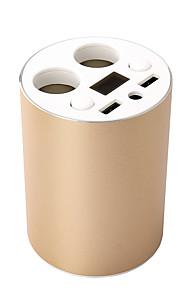 den oprindelige dobbelt USB-porte bil oplader kopholder mount med 2 fatninger spænding strøm førte display cigarettænder adapter