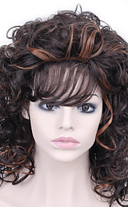 Black and Yellow Mixed Color Medium Short Curly Wig with Bangs Synthetic Wigs for Women