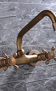 Современный / Античный / Modern По центру Широкий Spary with  Керамический клапан Две ручки двумя отверстиями for  Старая медь , Ванная