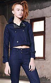 M Women's Casual/Daily Street chic Denim JacketsSolid Shirt Collar Long Sleeve Fall Blue Polyester Thin