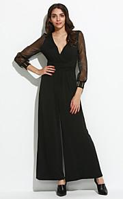 Femme Ample Combinaison-pantalon,Sexy Soirée Couleur Pleine Dentelle Col en V Manche Longues Polyester Spandex Micro-élastiqueToutes