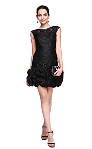 TS Couture Cocktail Party Prom Dress - Little Black Dress Sheath / Column Jewel Short / Mini Lace with Flower(s)
