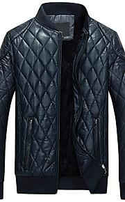 Herren Solide Retro Einfach Ausgehen Lässig/Alltäglich Übergröße Jacke,Frühling Winter Ständer Langarm Blau Schwarz Gelb Dick PU
