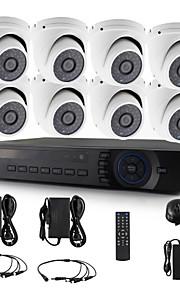 yanse® 8chl 720p 1200tvl d / n cctv camera ir 36 geleid koepel waterdichte bedrade ahd dvr kit beveiligingssysteem