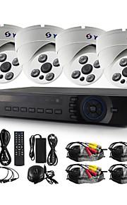 yanse® 4-kanaals 720p cctv camera d / n ir serie 4 geleid waterdichte bedrade ahd dvr kit