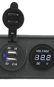 12v / 24v 3.1a dual usb-aansluiting en leidde voltmeter met huisvesting houder paneel voor auto boot truck rv