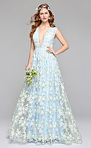 Lanting Bride® Trapèze Robe de Mariage  Colorées Longueur Sol Col en V Dentelle Tulle avec Dentelle