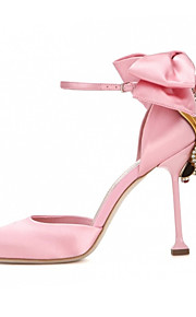 Women's Heels Spring Summer Fall Club Shoes Silk Party & Evening Dress Casual Stiletto Heel Rhinestone Bowknot Black Pink