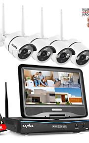 sannce® 2.4G 10.1 LCD de 4 canales de HD 720P NVR inalámbrico en 1500tvl / cámaras de corte IR IP al aire libre con 1 TB
