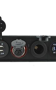 12v / 24v 3.1a usb portcigarette lichter socketpower stopcontact en voltmeter met huisvesting houder paneel voor auto boot truck rv
