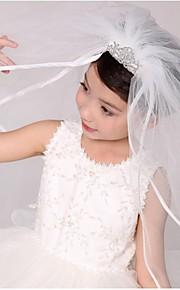 Свадебные вуали Два слоя Вуали для причастия С лентой по краю Тюль