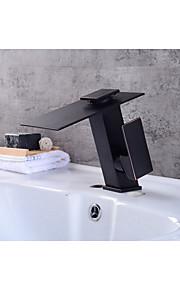 Moderni Integroitu Vesiputous with  Keraaminen venttiili Yksi kahva yksi reikä for  Oil-rubbed Bronze , Kylpyhuone Sink hana