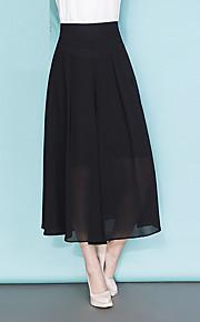 Damen Übergrössen Breites Bein Chinos Hose-Ausgehen Lässig/Alltäglich Einfach Niedlich einfarbig Schleife Gefaltet Chiffon Hohe Hüfthöhe