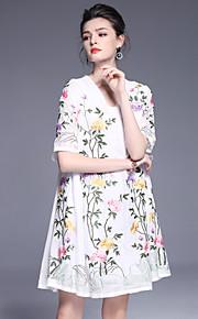 JOJO HANS Women's Going out Cute Shift DressEmbroidered V Neck Above Knee Short Sleeve White Black Green Cotton Polyester Spring Summer Mid Rise