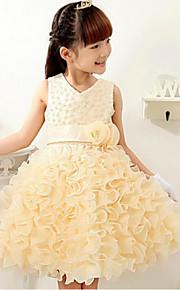 Prinzessin Knie-Länge Blumenmädchenkleid - Baumwolle Polyester Ohne Ärmel V-Ausschnitt mit Applikationen