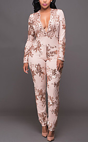 Women's Slim JumpsuitsCasual/Daily / Club Sexy / Street chic Slim Print Sequins Deep V Long Sleeve Mid Rise